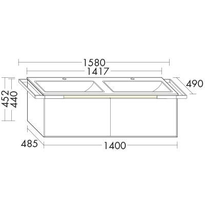 35cb1e3c8e4a94 Plan de toilette en céramique droit avec meuble sous-vasque SFES141 ...